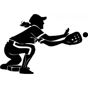Softball silhouette fielding